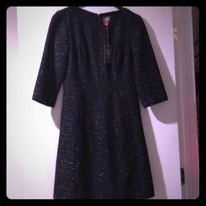Vince Camuto Crepe Dress Navy Metallic Tweed Sz 4